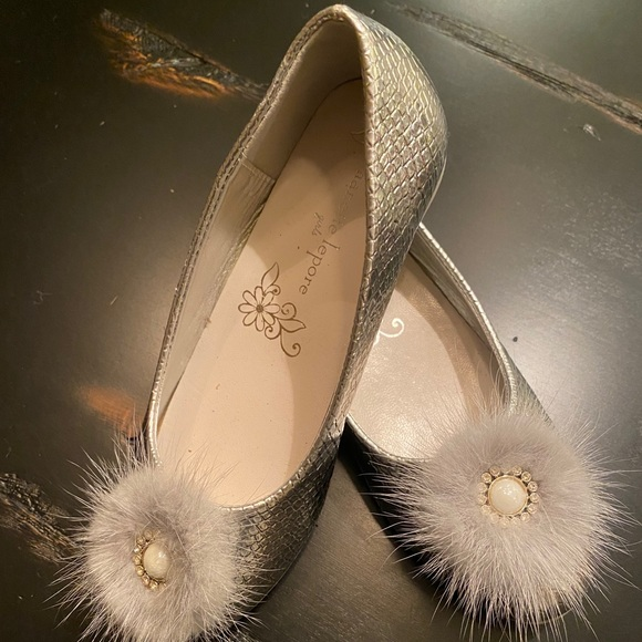 Nanette Lepore Other - New Nanette Lepore Silver Fur Accent Girls Flats